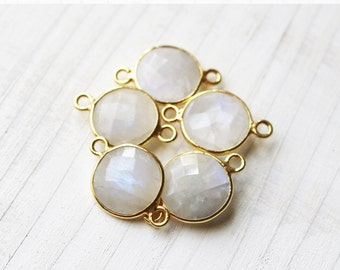 20mm Moonstone Bezel Connector Gemstone Round June Birthstone Pick Your Quantity