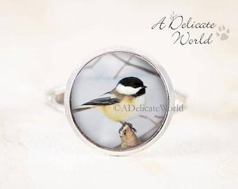 Chickadee Ring - Silver Bird Ring, Black Capped Chickadee, Bird Jewelry Ring Small, Chickadee Photo Jewelry, Silver Chickadee Jewelry