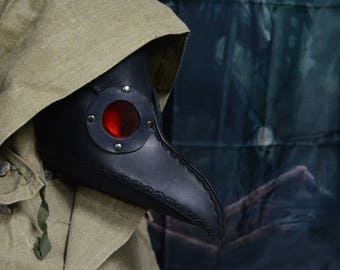 Black leather plague doctor mask, handmade in Russia
