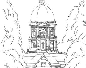 Notre dame dictionary art print main building golden dome for Notre dame fighting irish coloring pages