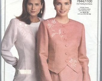 1990's Vogue Suit Pattern Jacket Top Skirt Pants Vogue 7844 Dress Womens Sewing Pattern uncut