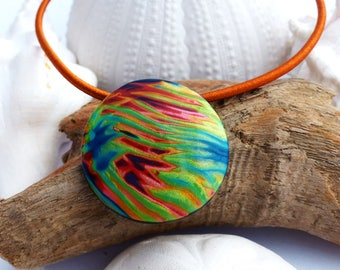 Choker necklace in polymer clay in the Jungle 3 colorful and bright