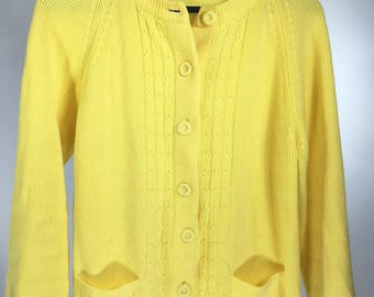 Vintage Handmade Yellow Cable Knit Sweater