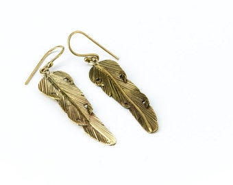 Feather Earrings handmade, Brass, Hanging Feather Jewellery, Gift boxed, Free UK post BG2