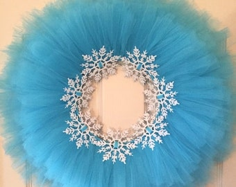 20% ANNIVERSARY SALE Blue Tulle Tutu Wreath with Glitter Snowflakes; Winter Wreath; Frozen Wreath; Christmas Wreath; Holiday Decor Wreath fo