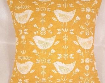 "14"" 16"" 18"" Cushion Cover Yellow Mustard Saffron Bird Print 100% Cotton Handmade"