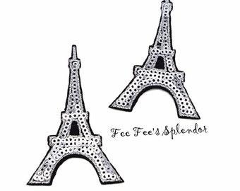 """3"""" Eiffel Tower Iron on embellishment- Paris Iron on patch - Eiffel Tower embellishment- Sequin Eiffel Tower"""