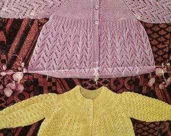 Vintage Baby Matinee Coats 48cm Knitting Pattern