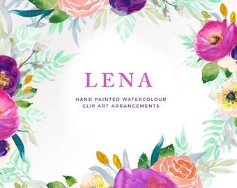 Hand Painted Watercolour Floral Clip Art - Finished Floral Arrangements