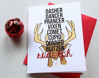 Christmas Card - Rudolph Card - Reindeer