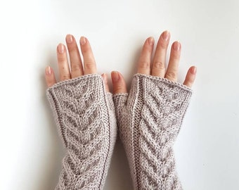 Cable knitted fingerless gloves, hand knit arm warmers, knit hand warmers, winter mitts, women's gloves