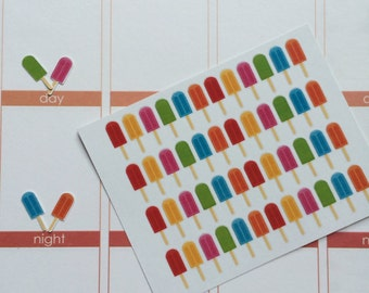 Planner Stickers 48 Small Popsicle Stickers Fits Erin Condren Life Planner