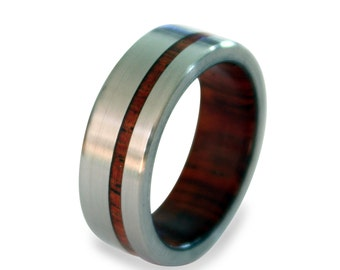 Titanium Ring for Men with Mahogany Wood Inner and Inlay, Mens Ring, Womens Ring, Mens Band, Wooden Ring, Wooden Ring for Nature Lovers