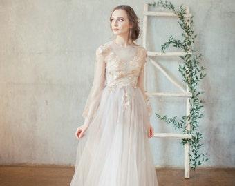 Golden embroidered blush wedding dress DOREN / boned, 3d flowers, covered back, closed back wedding dress, long sleeve wedding gown, floral