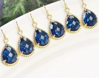 Navy Blue Earrings SET OF 8 Bridesmaid Earrings Gold - Gifts for Bridesmaids - Blue Bridesmaids Jewelry - Crystal Earrings for Bridesmaids
