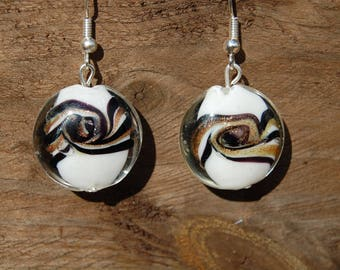 original white round spiral Pearl Earrings