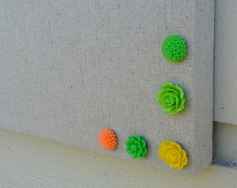 Magnet set, fun Spring colors in a set of 5 orange, green and yellow cabochon flower Rare Earth Fridge Magnets, or choose pushpins