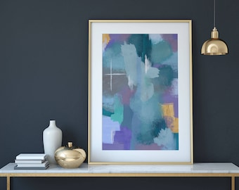 Abstract Wall Art Print, Blue Abstract Painting Print, Contemporary Acrylic Art Print, Blue Acrylic Painting, Abstract Giclee Print