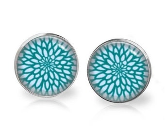 14mm Aqua Blue Chrysanthemum Graphic Glass Dome Stud Earrings Surgical Stainless Steel Post