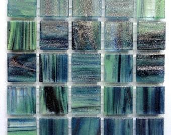 "20mm (3/4"") Blue Green Gold Semi-Transparent MARBLED BEVELED Glass Mosaic Tiles//Mosaic Supplies//Mosaic//Crafts"