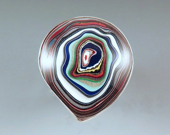 Fordite- Detroit Agate- Big Bull's Eye- Michigan Made- Hammered Sterling Silver Ring- Unisex Ring