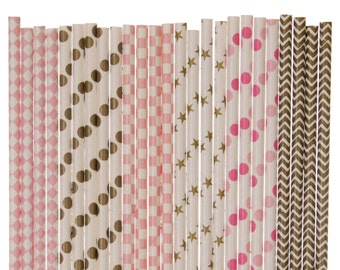 Paper Straw Mix, Pink and Gold Paper Straws, Glam Bridal Shower Decor, Boho Chic 1st Birthday Party Supplies, Pink Gold Wedding Paper Straws