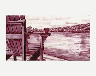 """Fine Art Print: Wine Painting ~ """"Morning by the Lake"""""""