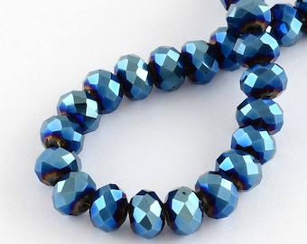 150 pcs Rondelle  FACETED GLASS CRYSTAL Beads 4mm x 3mm Jewellery Making Metallic Blue