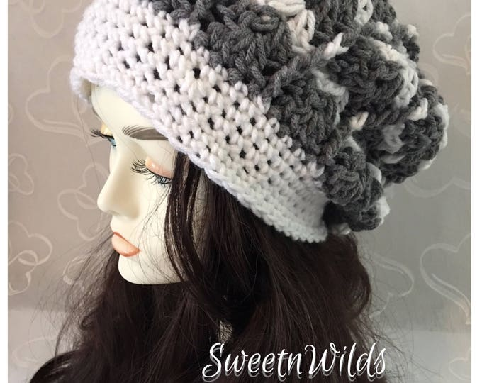 slouchy Crocheted Hat-Womens Hats-Winter Hat-Fall Accessories -Newsboy Hats-Grey and White Hat-Accessories -Hats-Handmade Hat-Warm Hats