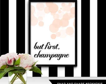 But First Champagne Bokeh Typography Art Print for the Fashion-Loving Girl