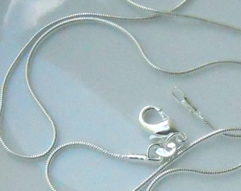 1 24 inch silver plated 1mm snake chain with Lobster Claw Clasp   FAST SHIPPING