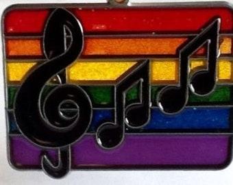 Small Vintage RAINBOW Musical Note SUNCATCHER Treble Clef Glitter