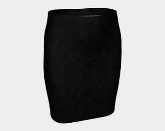 Black on Black Damask Goth Bodycon Skirt