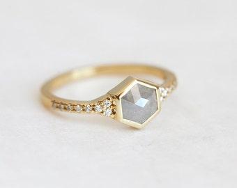 Rose Cut Hexagon Diamond Ring, Diamond Engagement Ring, Wedding Diamond Ring, Unique Engagement Ring