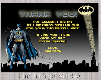 Batman  Thank you card - Personalized card you Print