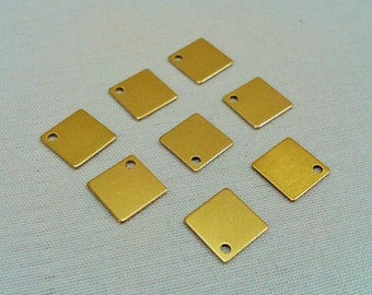 200 Pcs 9 x 9 mm Square Raw Brass , Square Disc, Charms, Findings ,1  Holes
