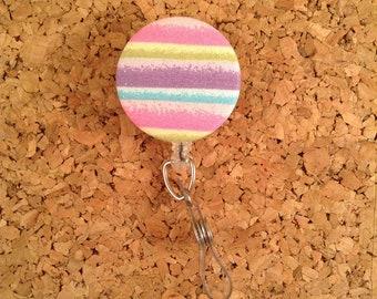 Glitter Rainbow Fabric Badge Reel Id Holder or Lanyard