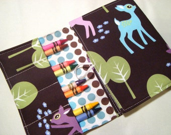 Crayon Tote on the Go /Cryaon Wallet Crayons and note pad included - Michael Miller Pet Deer