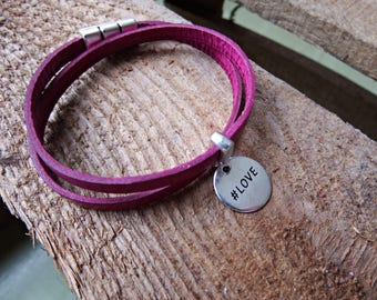 pink leather bracelet, leather wrap bracelet with a silver slide bead, charm love, leather bracelet, with a silver magnetic clasp