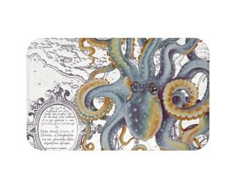 Steel Blue Octopus Tentacles Watercolor Vintage Map Chic Art Bath Mat