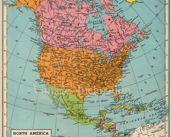 Vintage NORTH AMERICA Map 1940s original