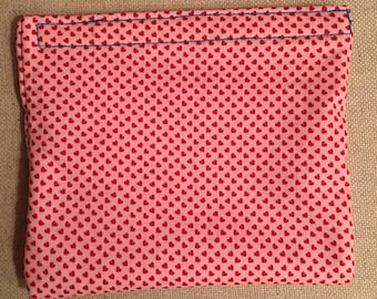 Holiday Collection Valentine's Day Heart-throb Pink - Reusable Bag - Sandwich Bag - Waterproof Bag - PUL Fabric - 100% Cotton