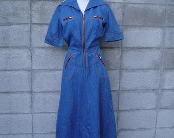 1970s Denim Dress Vintage Deadstock Jean Dress Protege