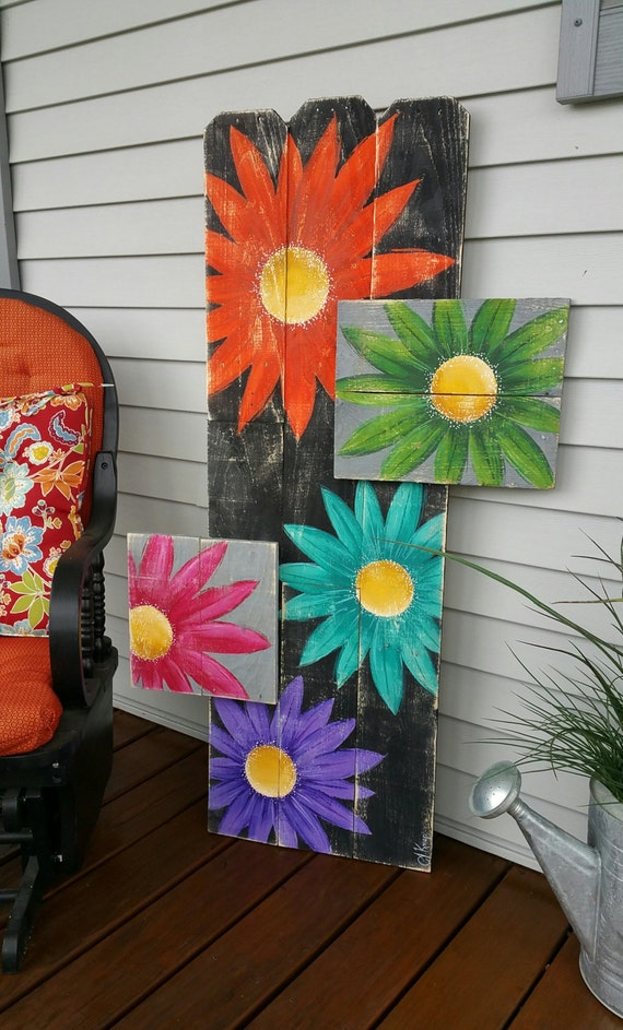 Items Similar To Gerber Daisy Pallet Art Large Distressed Reclaimed Wood Hand Painted