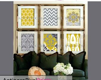 Citrine Mustard Yellow Digital Print Wall Art Prints Modern Inspired  - Set of 6 - 16x20 inches Prints - Yellow / Grey (UNFRAMED)