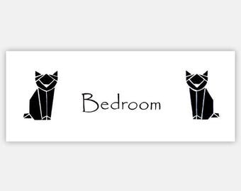 Parents geometric black cats room sign,origami cats sign, masters suit sign,parents gift,mothers Day Gift,new home gift,free personalization