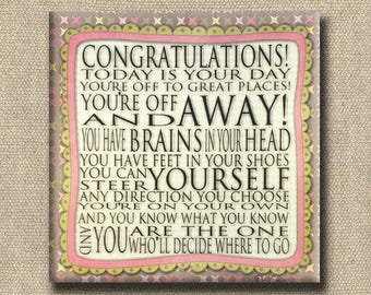 Congratulations Quote - Dr. Seuss Print Contemporary Cafe Mount soft green brown pink - art block - Today is your Day