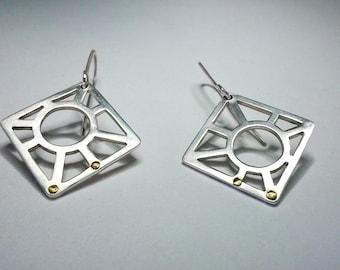 Plates Sun diamond - Silver earrings