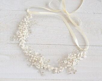 Bridal Hair Vine, Boho Wedding Headband, Crystal Flower Leaf Hair Accessories, Pearl Cluster Headpiece, Hair Jewelry, Wedding Halo, NATALIA