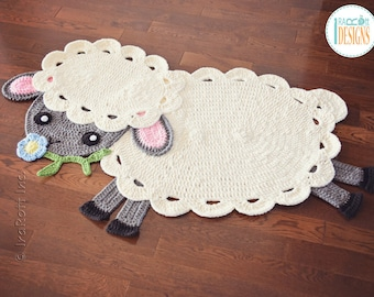 Lamb with Flower Handmade Crochet Area Rug - READY to SHIP